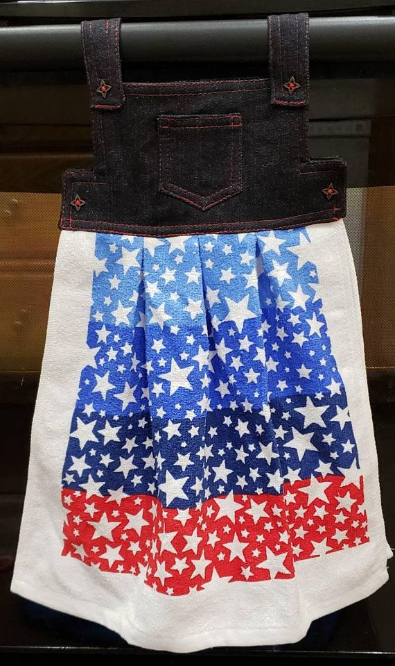 b96d2c39d0e6 Red White and Blue Stars and Stripes Oven Door Dish Towel Patriotic ...