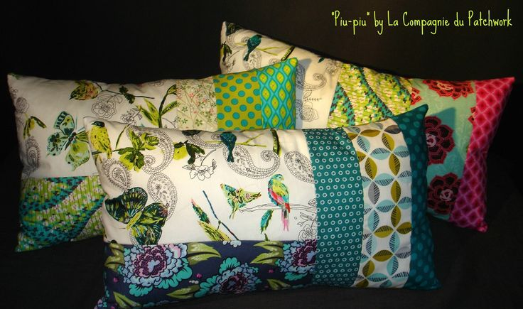 Coussin Patchwork Créateur - graphismes turquoises et piu piu et papillon, 54 x…