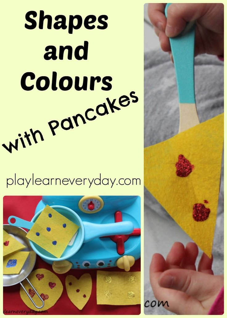 Playing with felt pancakes and learning about shapes and colours for Pancake Day.