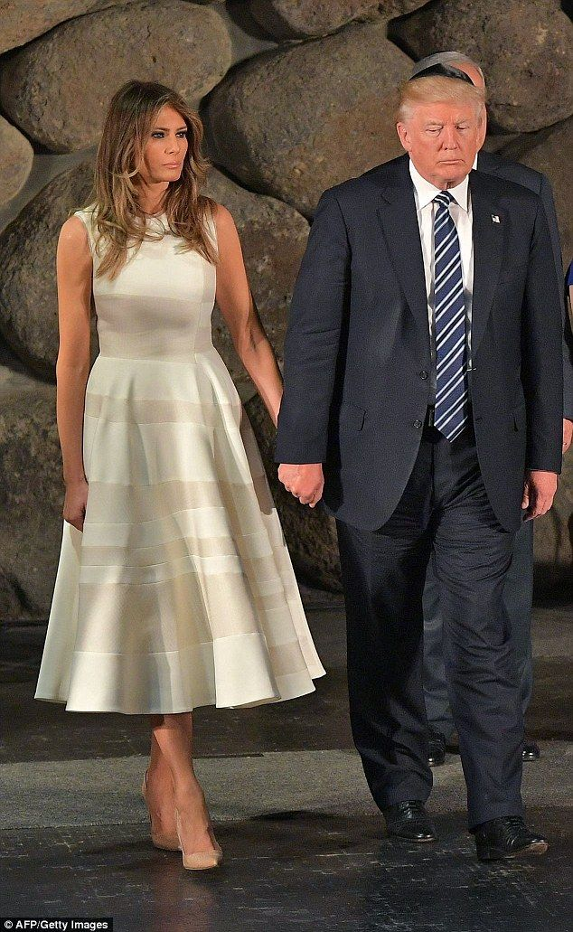 First Lady Melania Trump modeled a sleeveless, A-line dress that skimmed her calves as she joined her husband, President Donald Trump, at Israel's Holocaust memorial Yad Vashem