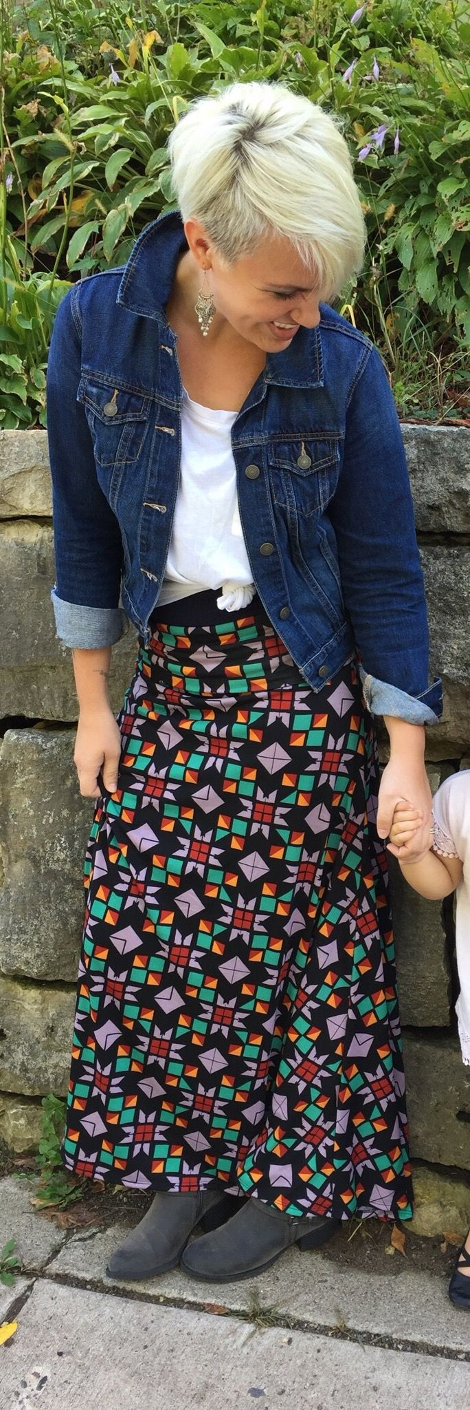 LuLaRoe Maxi skirt with knotted t and jean jacket. Join our Facebook group for fun ways to create outfits and opportunities to purchase styles like this one. https://www.facebook.com/groups/LuLaRoeLiliesShoppe