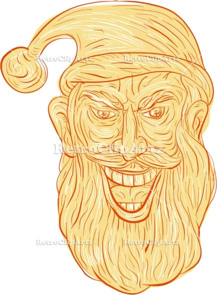 Evil Santa Claus Head Drawing Vector Stock Illustration.  Drawing sketch style illustration of an evil looking, sinister and devilish santa claus with a wide grin viewed from front set on isolated white background. #illustration   #EvilSantaClausHead