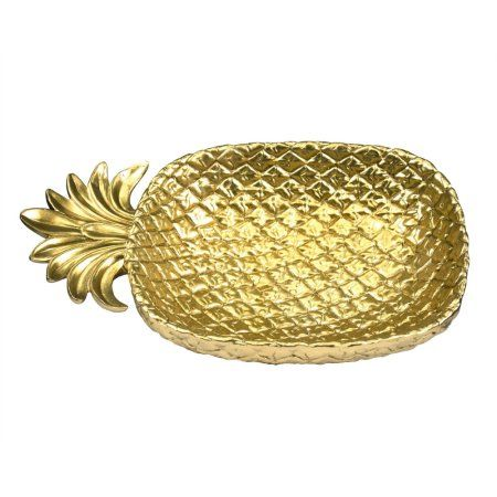 Tropical Pineapple Decorative Plate, Gold