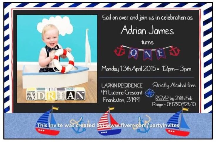 Don't settle for generic impersonal birthday invitations, Let us create an exciting Nautical Sailor theme invitation for your child's next party that your guests will really love from as little as $5!