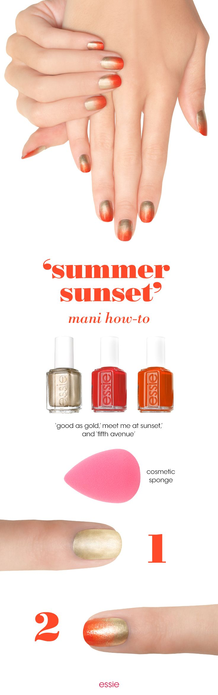 The sun never sets when you stamp on this bright and sunny ombre look. Recreate nail art with any essie coral and red. We recommend 'meet me at sunset' and 'fifth avenue': Apply one coat of an essie base coat. Followed by one coat of 'good as gold'. Apply 'good as gold', 'meet me at sunset' and 'fifth avenue' to the end of a cosmetic wedge to create ombre look. Stamp on the colors 1/3 of the way from cuticle. Clean edges with a acrylic brush and polish remover. Seal and shine with…