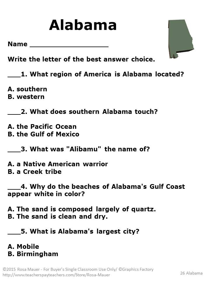 Alabama: These 42 comprehension questions correspond with Uniquely Alabama (Heinemann State Studies) by
