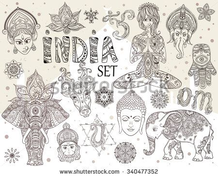 Big set with elements of Indian culture. Gods Ganesha, Navratri, Hanuman. Lord Buddha. Lotus, chakras, yoga posses. Ornamental elephant and mandalas. Hamsa for luck. Medallion, yoga, india, arabic - stock vector