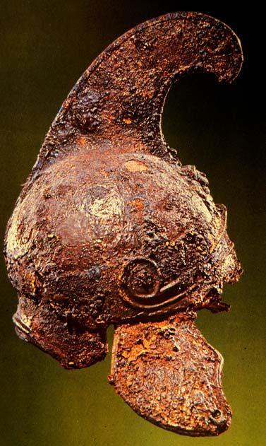 Iron Macedonian helmet found at the Royal Tombs of Vergina (near Aigai)