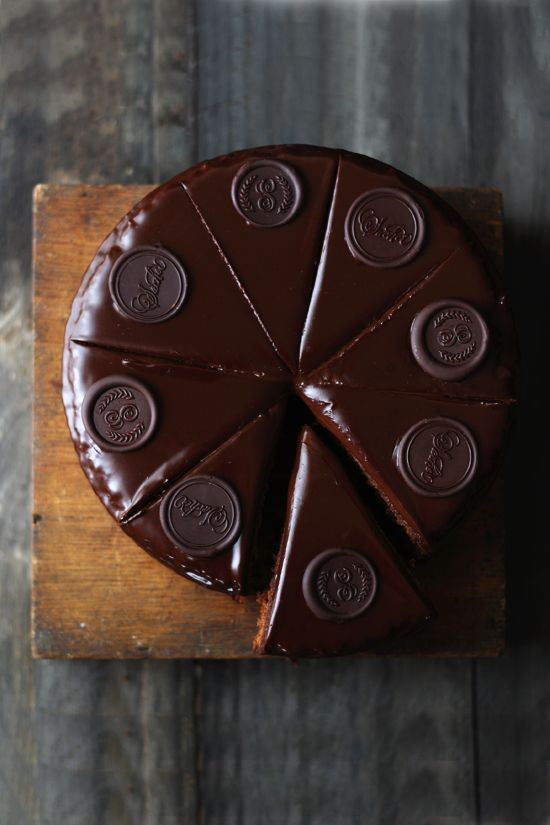 ... sacher cake with apricot jam and chocolate glaze ...