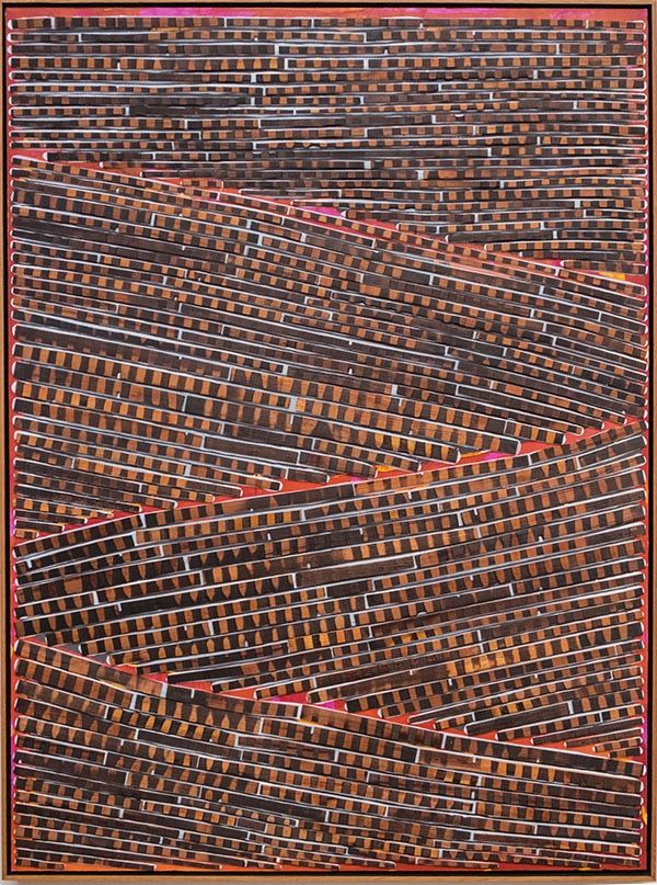 RED INTO GREY AND TUMBLE DOWN by David Roach  Charred cedar, acrylic on board.                   120 x 90 cm $3,850 - SOLD -
