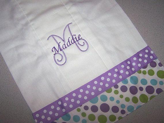 2 Purple Monogram Burp Cloth Burp Rag Polka by SewAdorableHandmade, $20.00