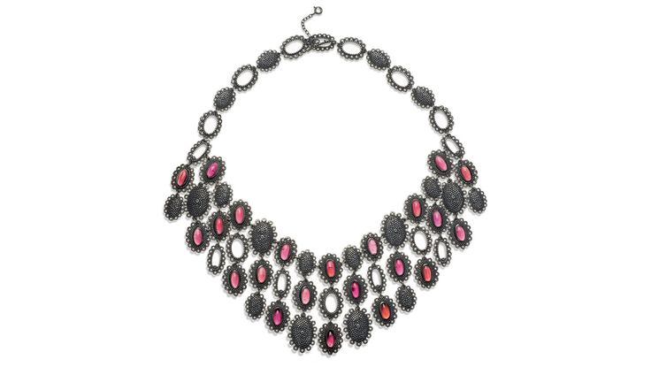 Latest work – Catherine Hills Above: Baroque Collar Necklace - Medium size   Limited Edition 1/20. Oxidised Silver and Silver with 22 Cabochon Indian Garnets   £1990