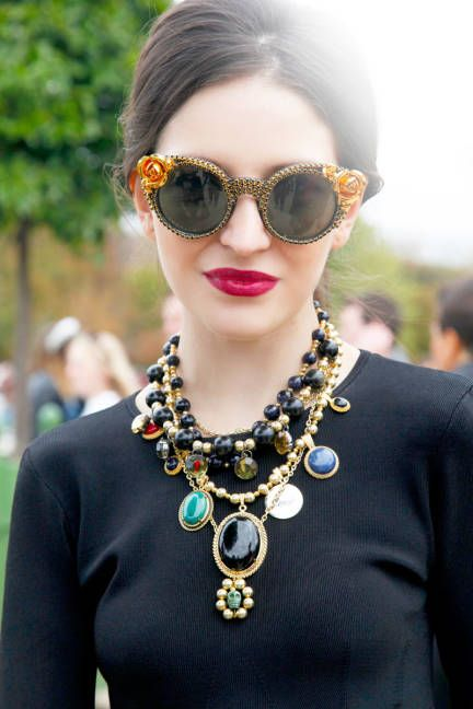 Statement shades and multiple necklaces . Streetstyle