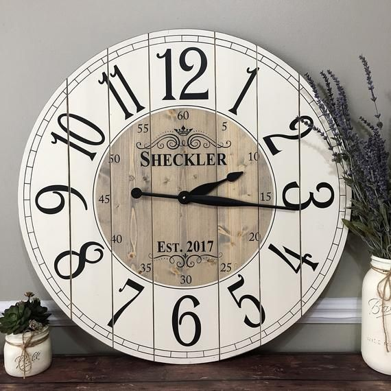 22 Inch Wooden Farmhouse Clock Arabic Numbers Rustic Wall Etsy Rustic Wall Clocks Large Wall Clock Farmhouse Clocks