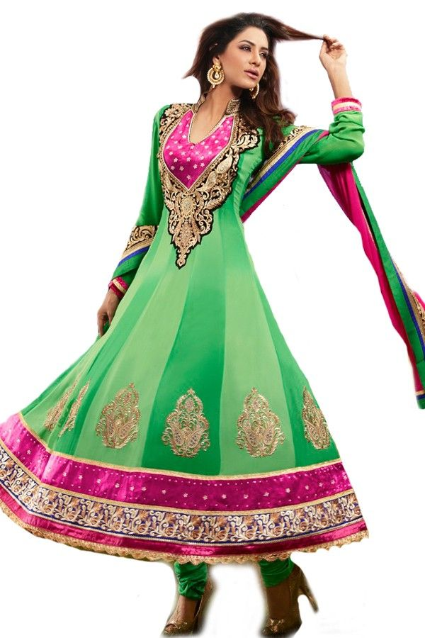 Shop Now - http://valehri.com/salwar-kameez/918-mint-green-shaded-flowing-georgette-top-with-chiffon-dupatta.html