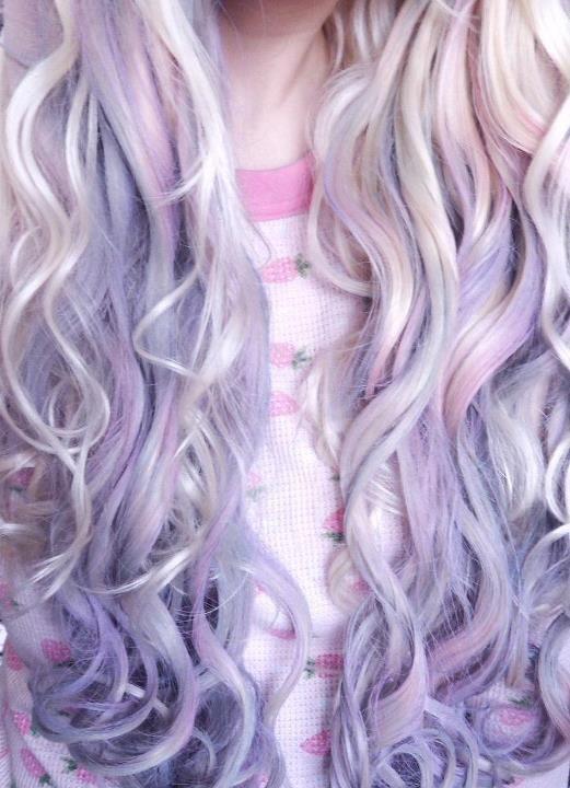 pastel hair dream lavender pale blue