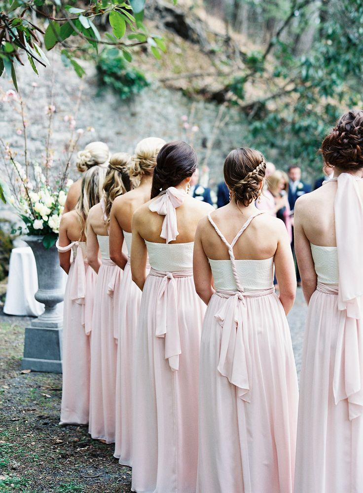 Bedford Springs grotto ceremony spring wedding flowers simple elegant classic pittsburgh florist roses ranunculus dusty miller french tulips pink ivory ballroom bride bouquet urn arrangement bridesmaids Joey Kennedy Photography