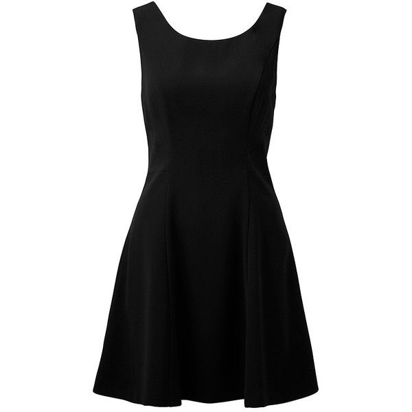 Forever New Kimberly Skater Dress ($29) ❤ liked on Polyvore featuring dresses, vestidos, robes, black, black button dress, open back skater dress, no sleeve dress, kohl dresses and sleeveless skater dress