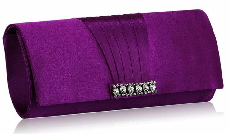 Purple Crystal Diamante Evening Clutch Bag