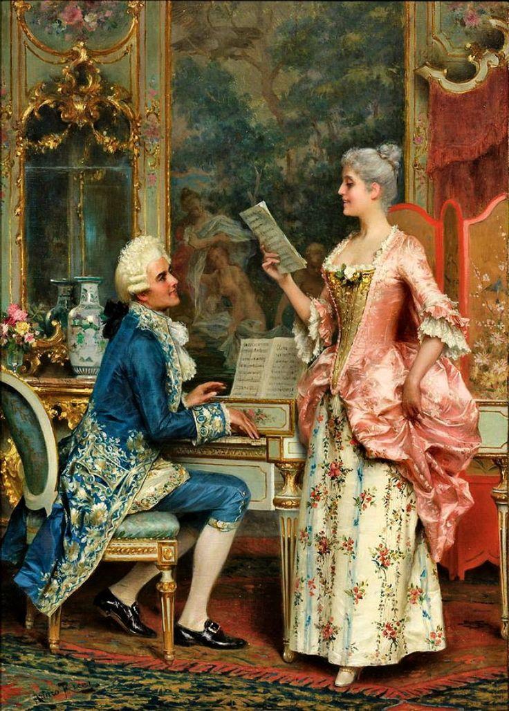 Arturo Ricci (1854-1919) - The Singing Lesson: