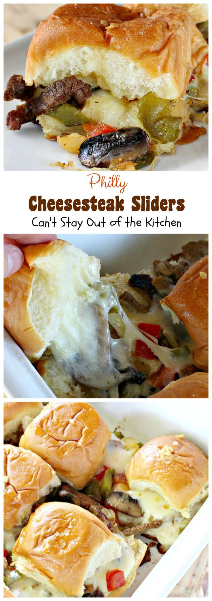 Philly Cheesesteak Sliders | Great for tailgating parties or the SuperBowl! These use King'sHawaiianRolls.