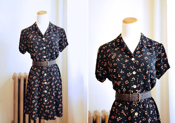 Floral Black Button Down Shirt Dress / 1990s 90s by LOVEGAZPACHO, $38.00