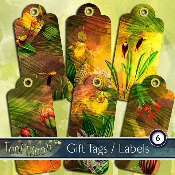 Digital gift tags, digital labels, digital collage sheet, digital paper, botanicals, flowers in green, yellow, orange - Botanicals Tags 01