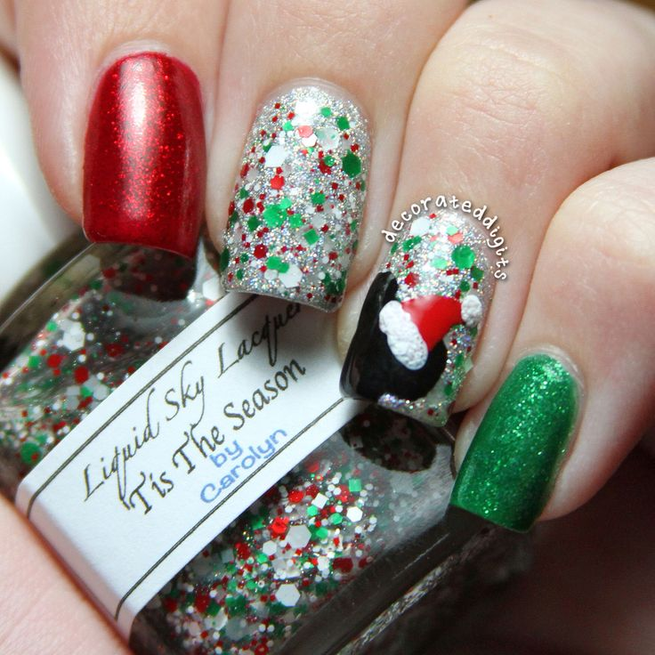 Disney Mickey Mouse Santa Christmas nails by decorateddigits