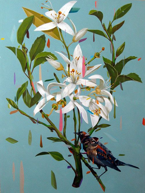 Artist painter Frank Gonzales. drippy floral