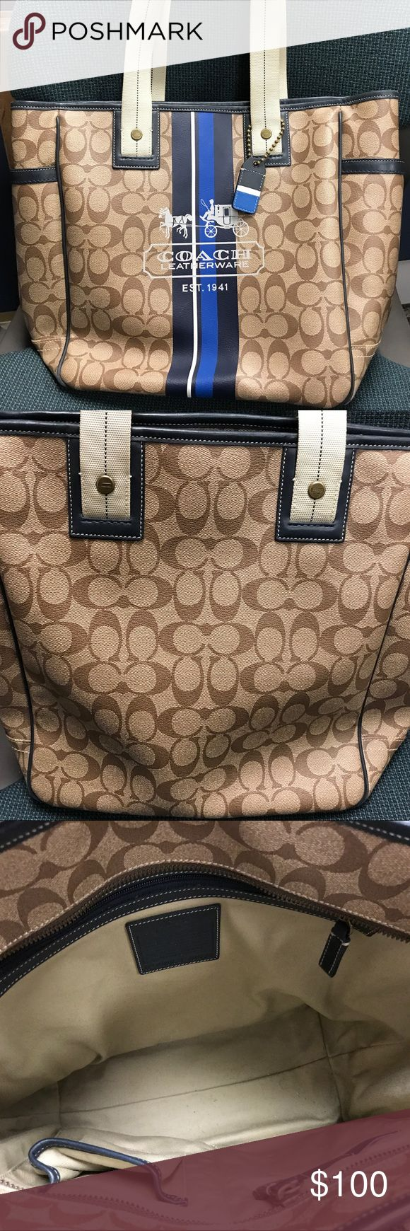 Women's Coach Tote Bag Women's Coach tote bag. In almost new condition! Only used a couple items, so still look new! Bundle for deals! Coach Bags Totes