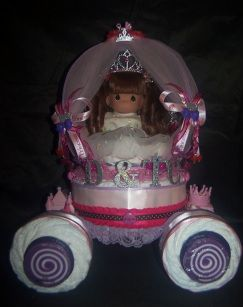 """Boy Theme Diaper Carriage done for a baby shower in New Jersey. On Carriage * 65 - 70 Count Diapers - Sz. 1 -2 * 3 pc REEBOK """" STEELERS """" Outfit -  Onesies, Booties & Bib - NB + * 2 pc..."""