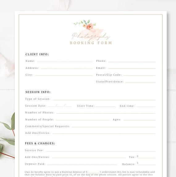 Wedding Venue Booking Form Professional Form Photoshop Template