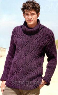 Мужской свитер с косами, вязаный спицами.