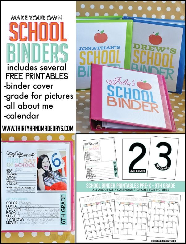 Make Your Own School Binder with several free #printables.. perfect for back to school!  www.thirtyhandmadedays.com