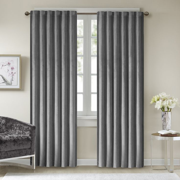 Comfort Spaces - Poly Velvet Window Curtain Pair 4pc set - Dark Grey - 50x84 Inch Panel - Energy Efficient Saving - Curtain Rod Pocket - Include 2 Panels and 2 Tiebacks