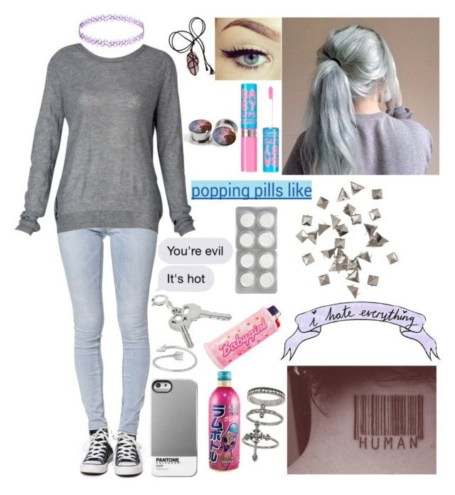"""""""//I'm only human\\"""" by emmcg915 ❤ liked on Polyvore featuring Bullhead Denim Co., Maybelline, Case Scenario, Midsummer Star, H&M and Miss Selfridge"""