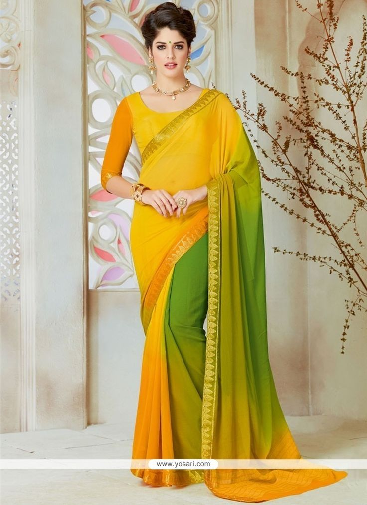 Ruritanian Green And Yellow Lace Work Shaded Saree Model: YOSAR12096