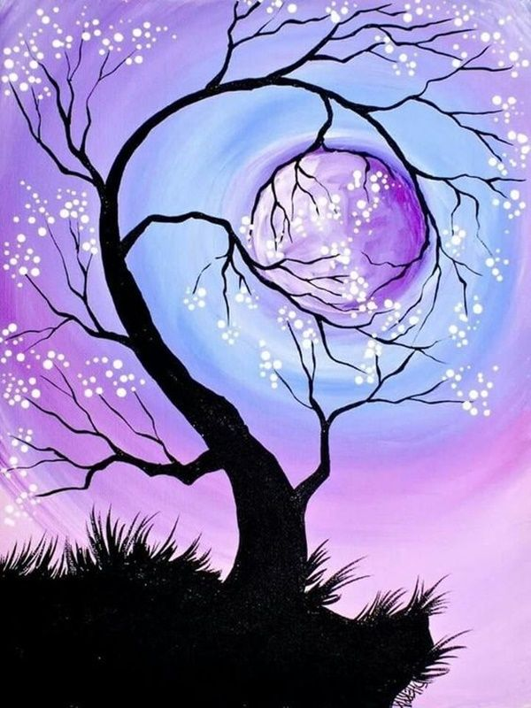 30 Easy Tree Painting Ideas That Look Absolutely Stunning Night