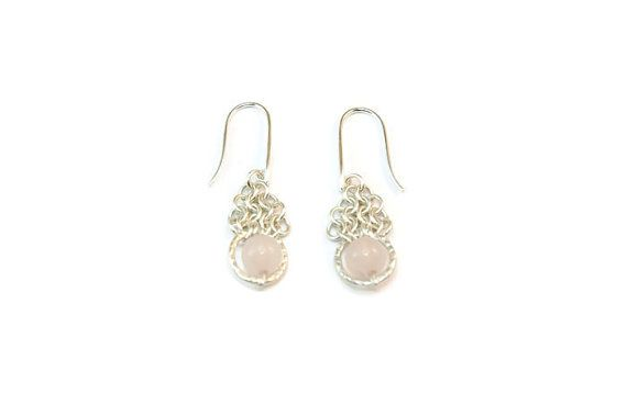 Sterling Silver European 4-in-1 Chainmaille Earrings with Rose Quartz Beads in a Hammered Circle #handmade
