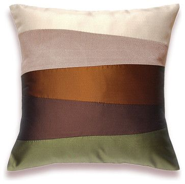 Cream Beige Rust Brown Olive Green Pillow Cover 16 in SIENNA DESIGN modern pillows
