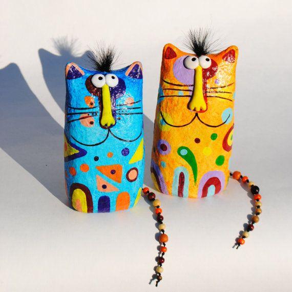 Gato, estatuilla, escultura de papel maché, gato coleccionable, figurilla hecha…