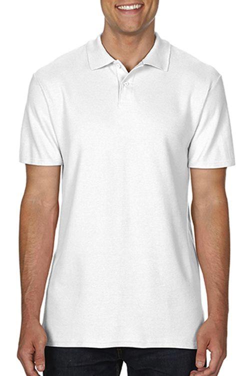 Tricou polo alb de bărbați Softstyle® Double Pique Gildan din 100% bumbac, ring spun #tricouri #polo #albe #personalizate #gildan #promotionale