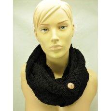 Hiya handgebreide (col)sjaal bananengaren - zwart