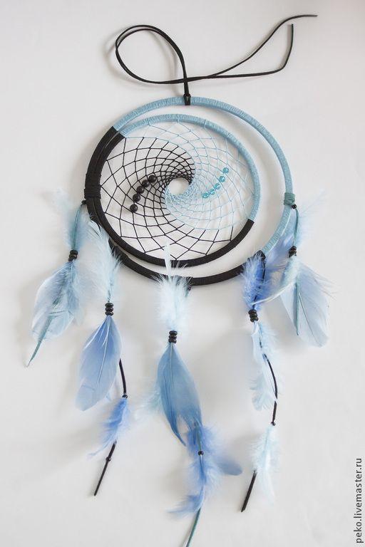 Купить Ловец снов Инь-Янь - голубой, ловец снов, оберег, подарок