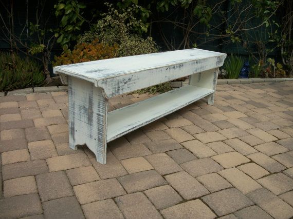 Narrow Wood Bench with Shelf or TV Stand  by SquareNailFurniture, $125.00