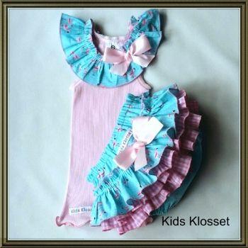 Kids Klosset | Baby | Clothing | Pink Flamingo Frilly Nappy Cover & singlet set - Handmade Emporium