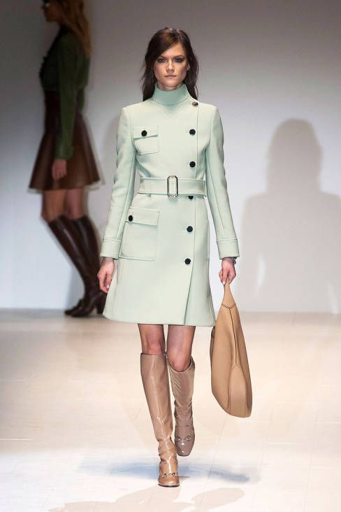Gucci AW14 :: Kasia Struss | this coat is so mod and i love the boots to death. so happy to see Kasia on the runway again!