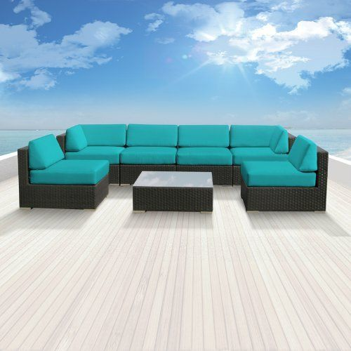 Luxxella Patio Bella Genuine Outdoor Wicker Furniture 7-Piece Gorgeous Couch Sectional Sofa Set, Turquoise