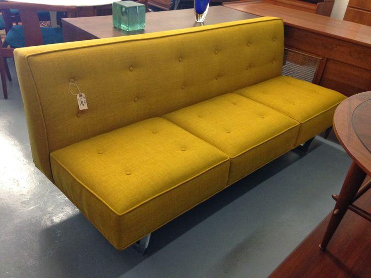 midcentury armless sofa brass jones