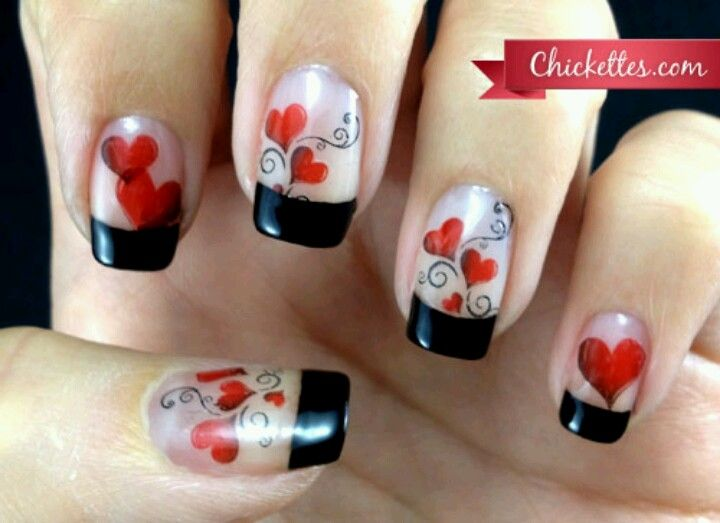 V-day nails- I would do white tips instead and only one accent nail